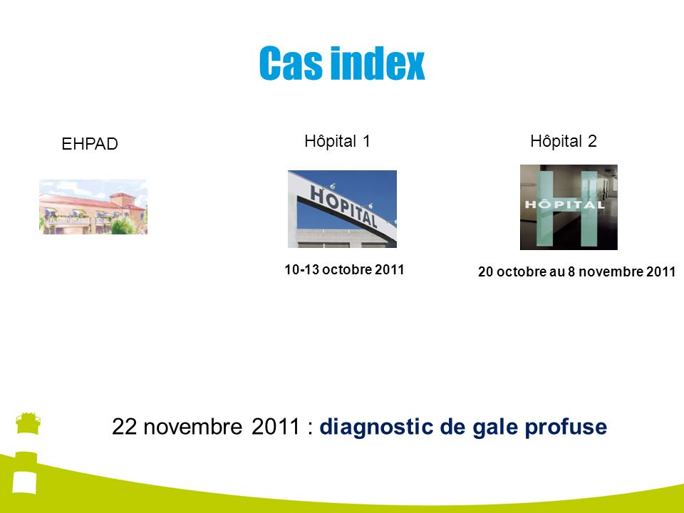 Cas index 22 novembre 2011 : diagnostic de gale profuse EHPAD