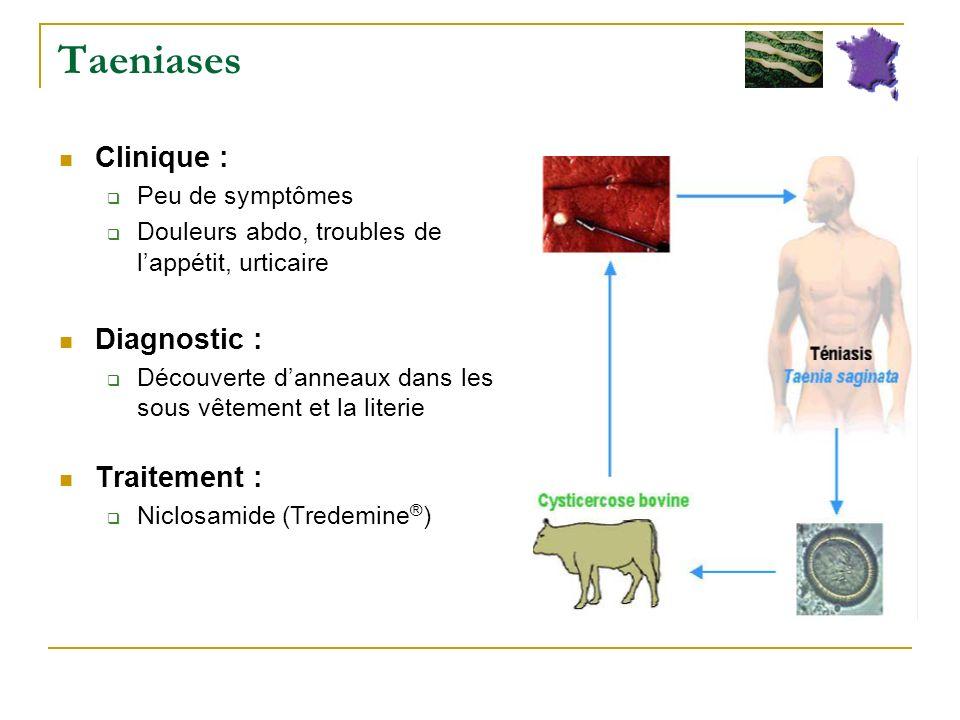 Taeniases Clinique : Diagnostic : Traitement : Peu de symptômes