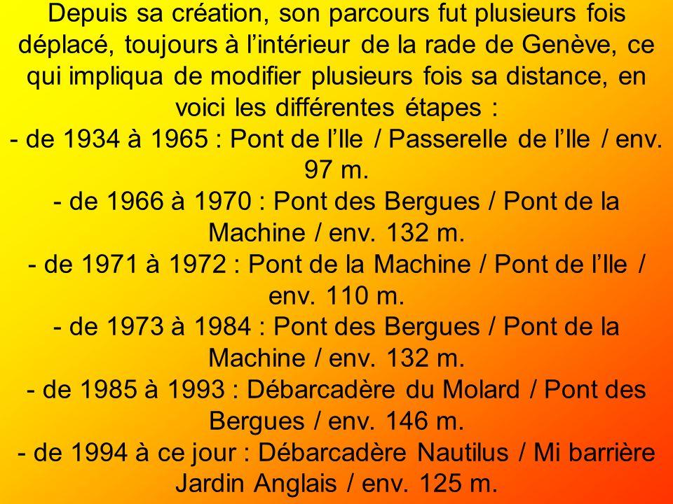 Depuis sa création, son parcours fut plusieurs fois déplacé, toujours à l'intérieur de la rade de Genève, ce qui impliqua de modifier plusieurs fois sa distance, en voici les différentes étapes : - de 1934 à 1965 : Pont de l'Ile / Passerelle de l'Ile / env.