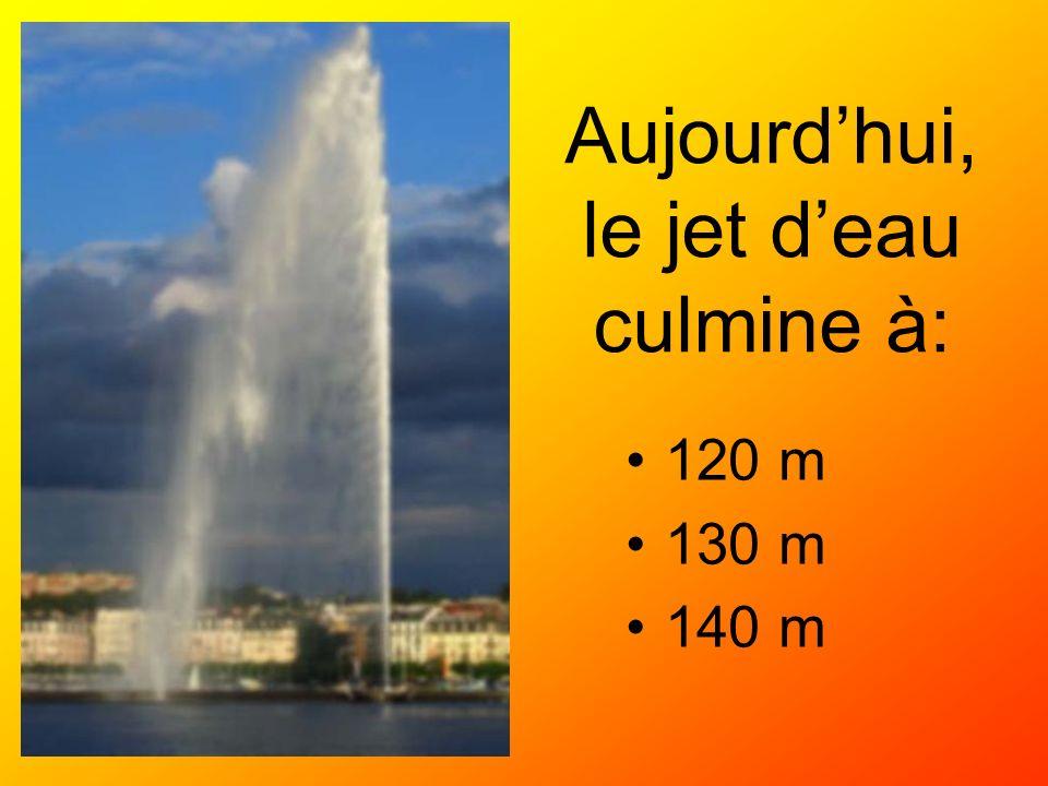 Aujourd'hui, le jet d'eau culmine à: