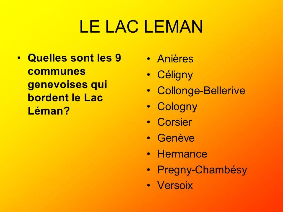 LE LAC LEMAN Quelles sont les 9 communes genevoises qui bordent le Lac Léman Anières. Céligny. Collonge-Bellerive.