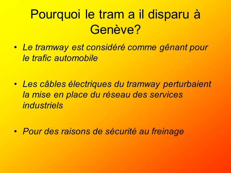 Pourquoi le tram a il disparu à Genève