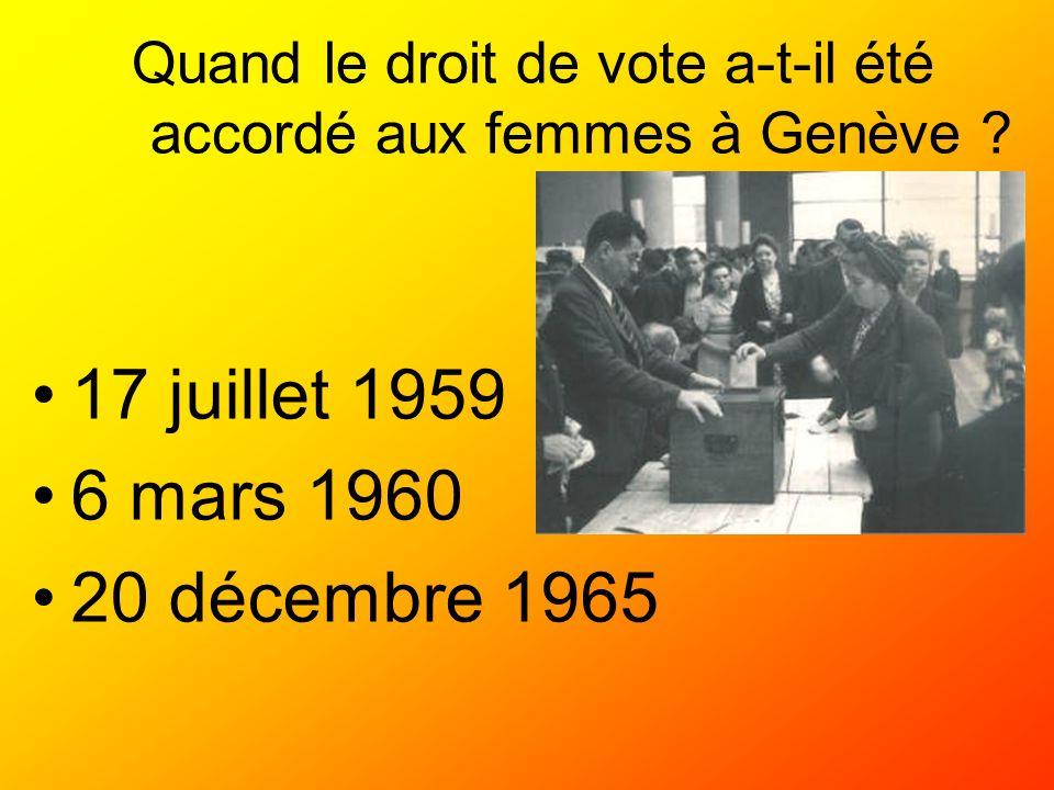 Quand le droit de vote a-t-il été accordé aux femmes à Genève