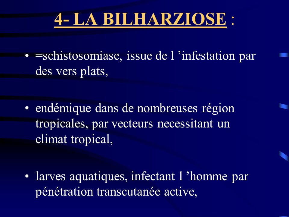 4- LA BILHARZIOSE : =schistosomiase, issue de l 'infestation par des vers plats,