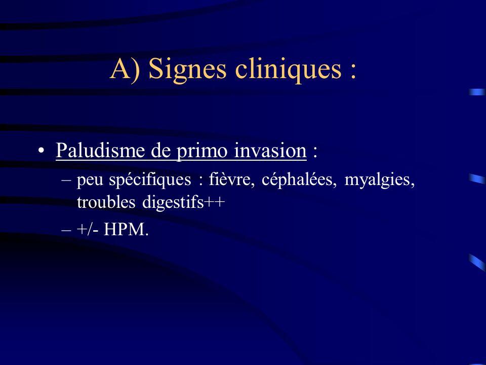 A) Signes cliniques : Paludisme de primo invasion :