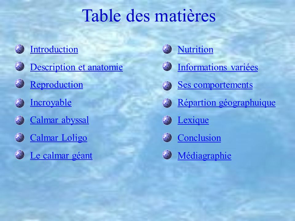 Table des matières Introduction Description et anatomie Reproduction