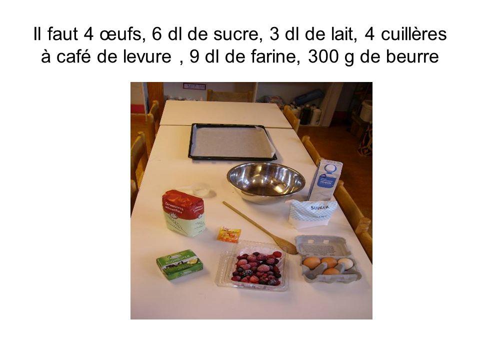Il faut 4 œufs, 6 dl de sucre, 3 dl de lait, 4 cuillères à café de levure , 9 dl de farine, 300 g de beurre