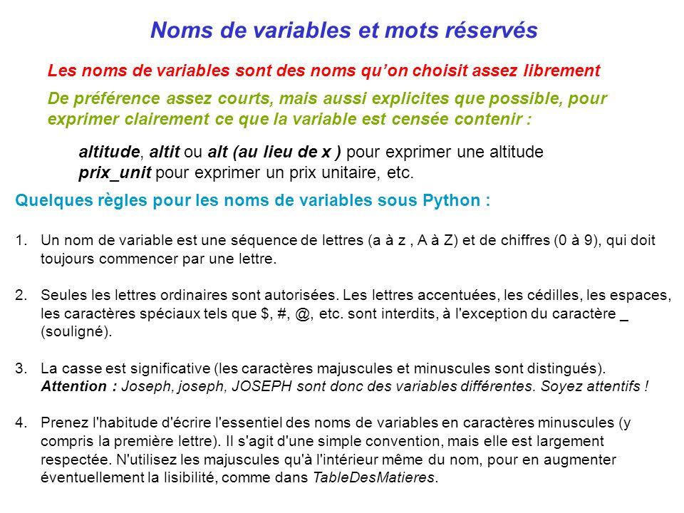 Noms de variables et mots réservés