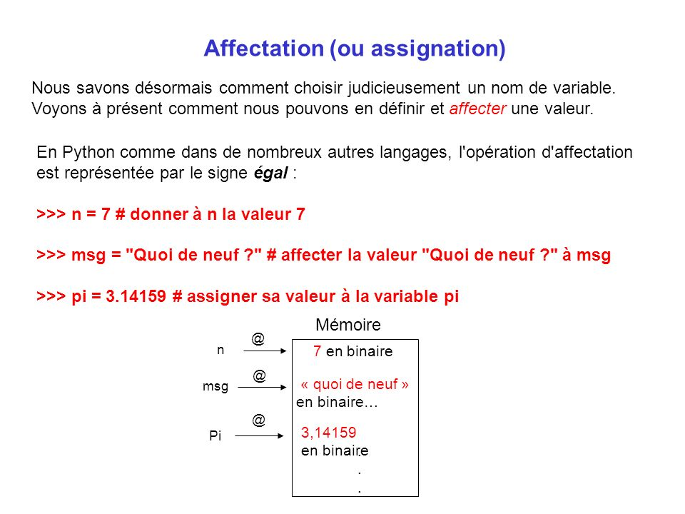 Affectation (ou assignation)