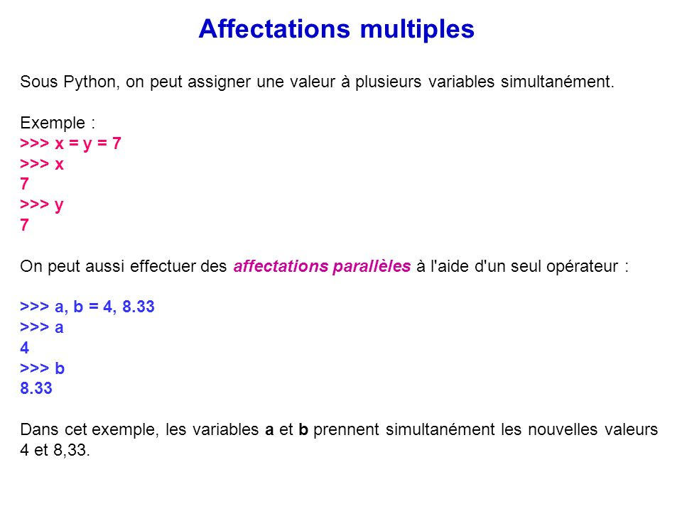 Affectations multiples