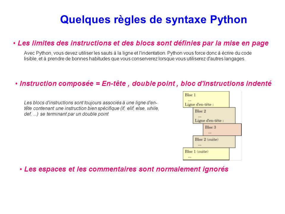 Quelques règles de syntaxe Python