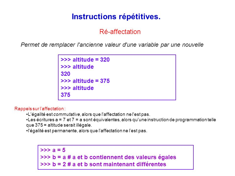 Instructions répétitives.