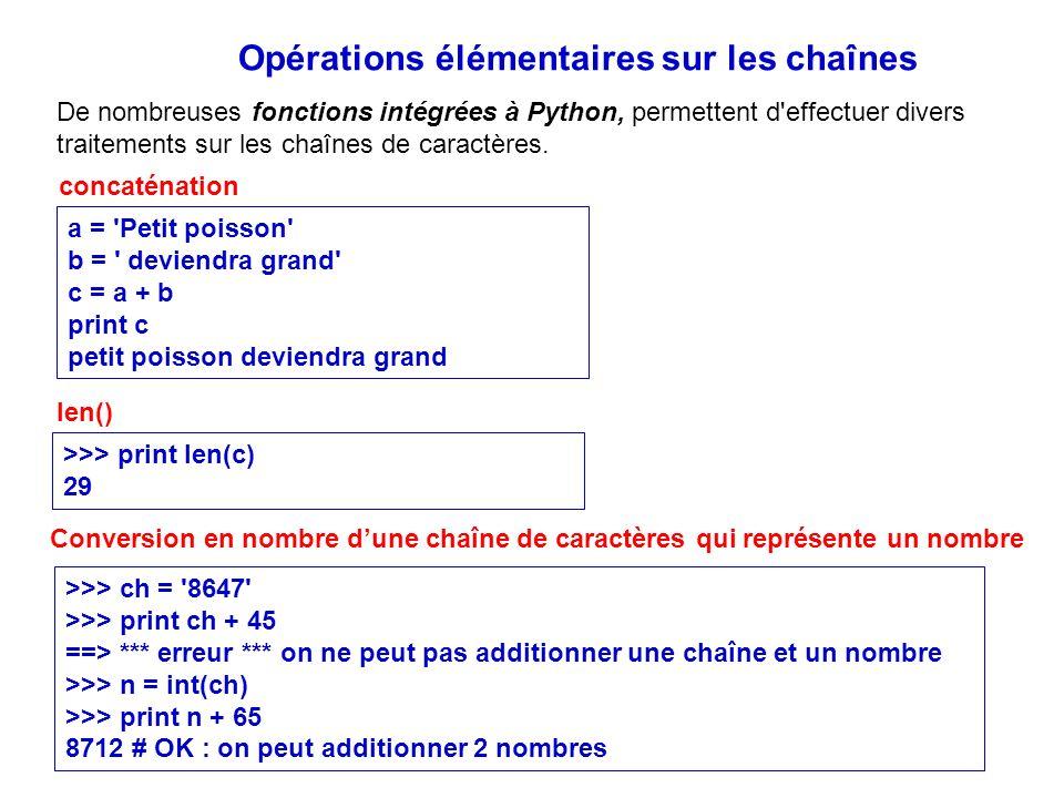 Opérations élémentaires sur les chaînes