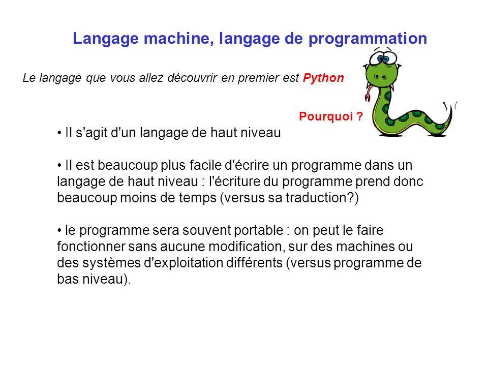 Langage machine, langage de programmation