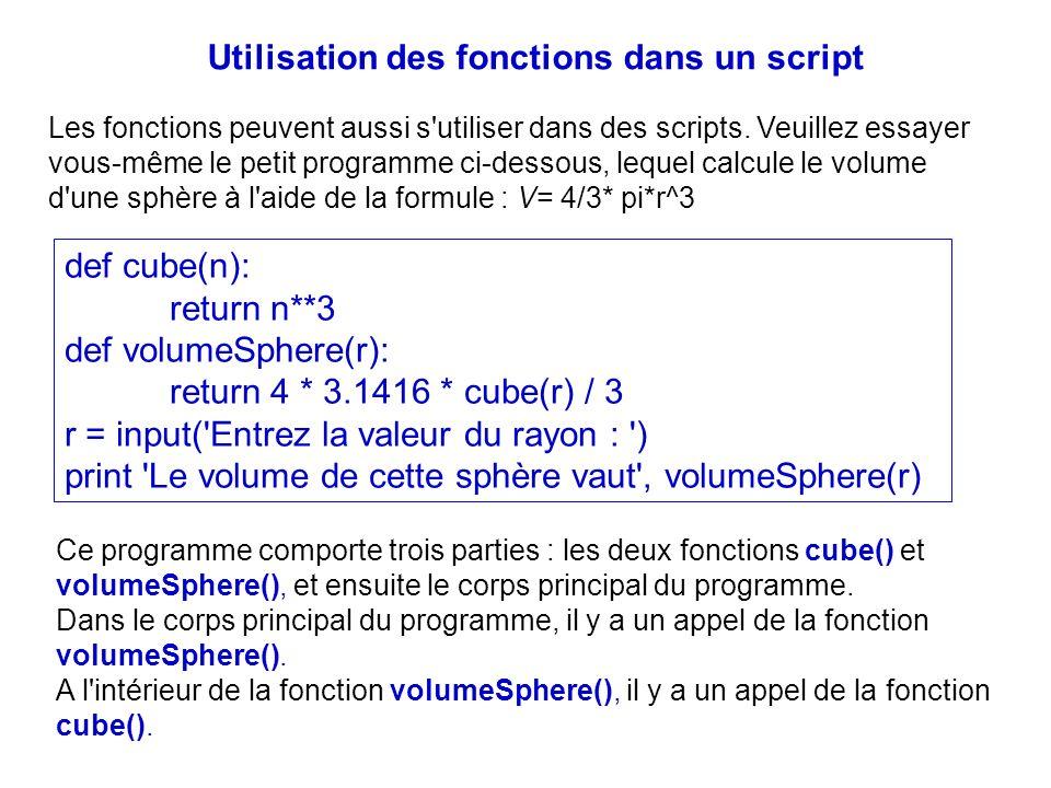 Utilisation des fonctions dans un script