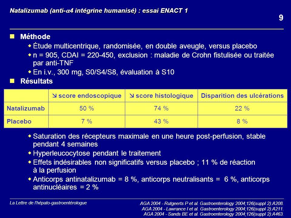 Natalizumab (anti-4 intégrine humanisé) : essai ENACT 1