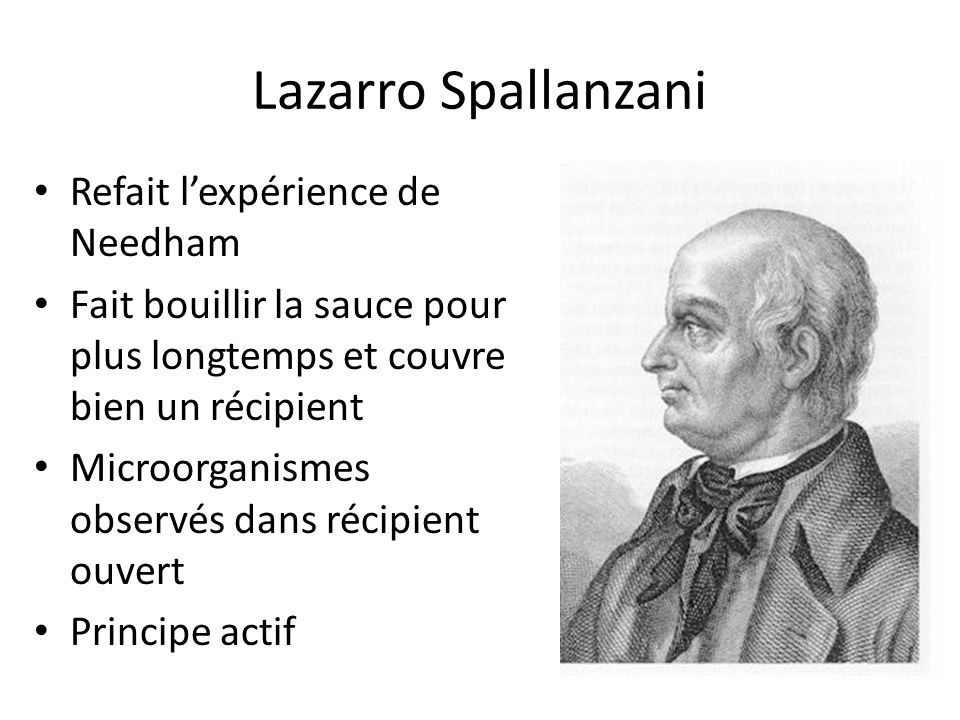 Lazarro Spallanzani Refait l'expérience de Needham