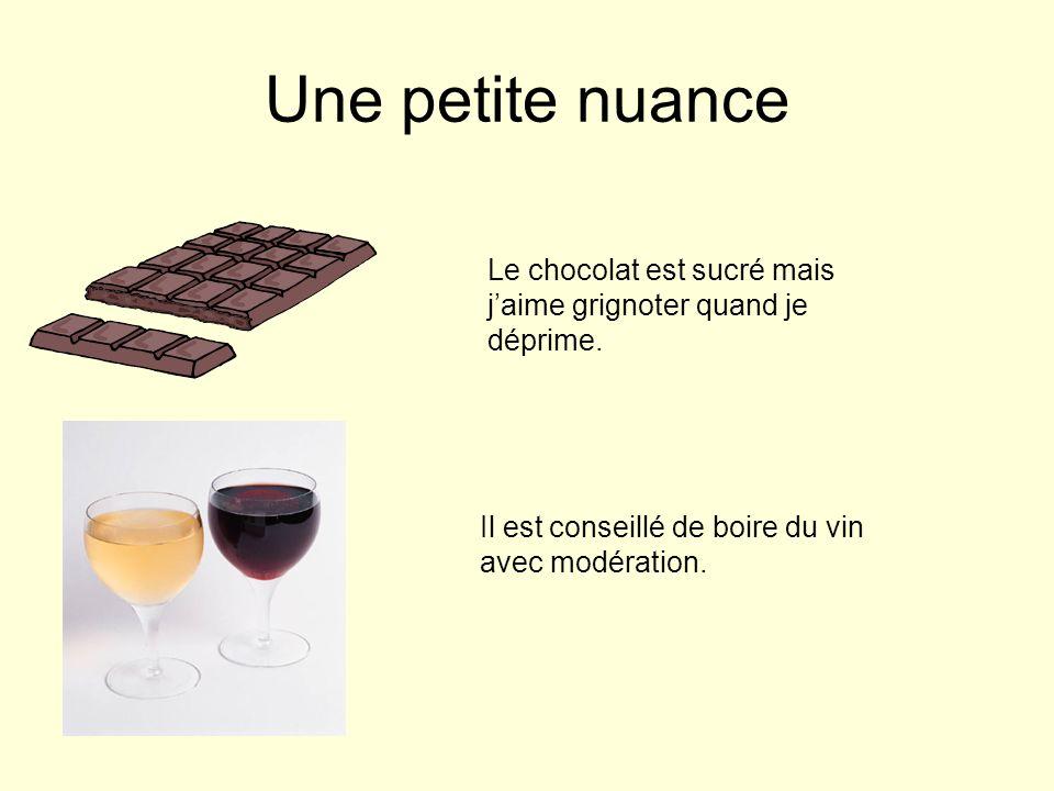 Une petite nuance Le chocolat est sucré mais j'aime grignoter quand je déprime.