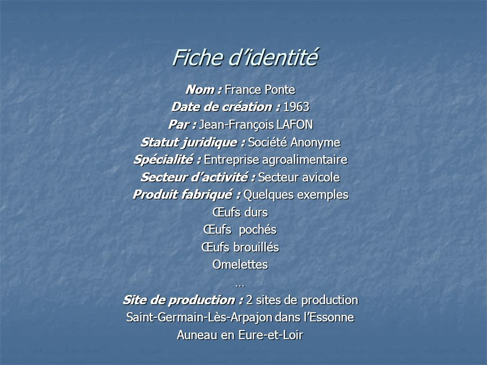 Fiche d'identité Nom : France Ponte Date de création : 1963