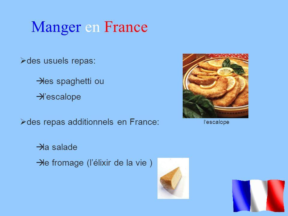 Manger en France des usuels repas: les spaghetti ou l'escalope