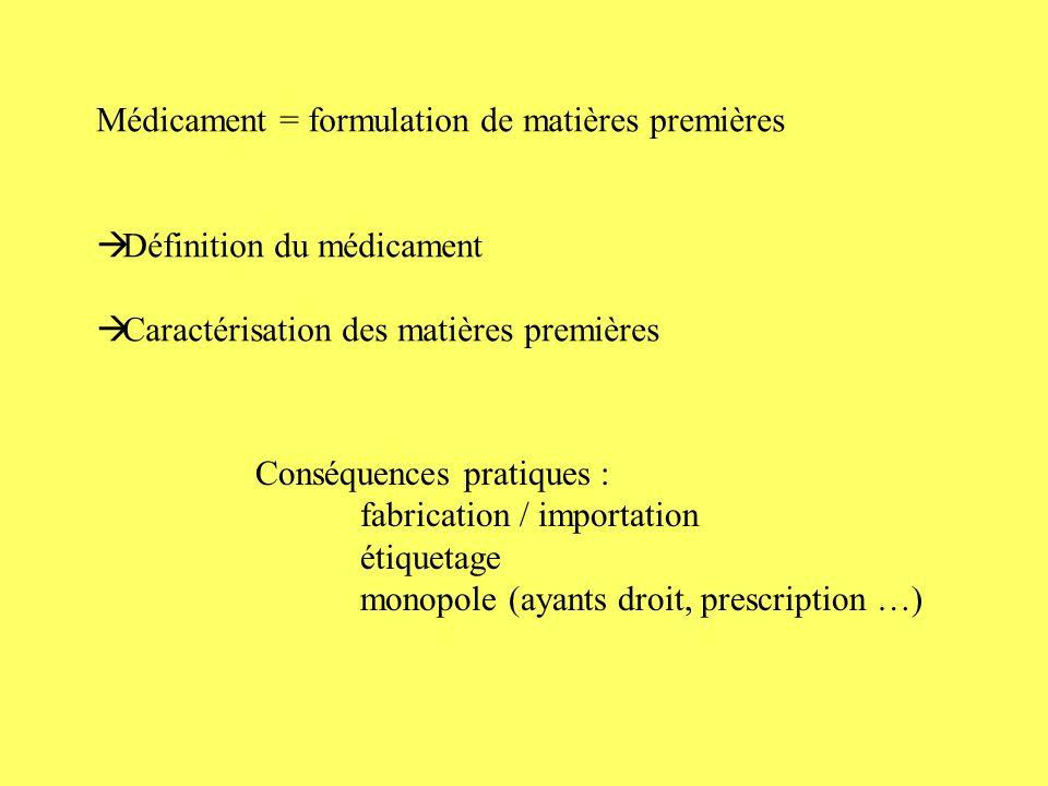 Médicament = formulation de matières premières