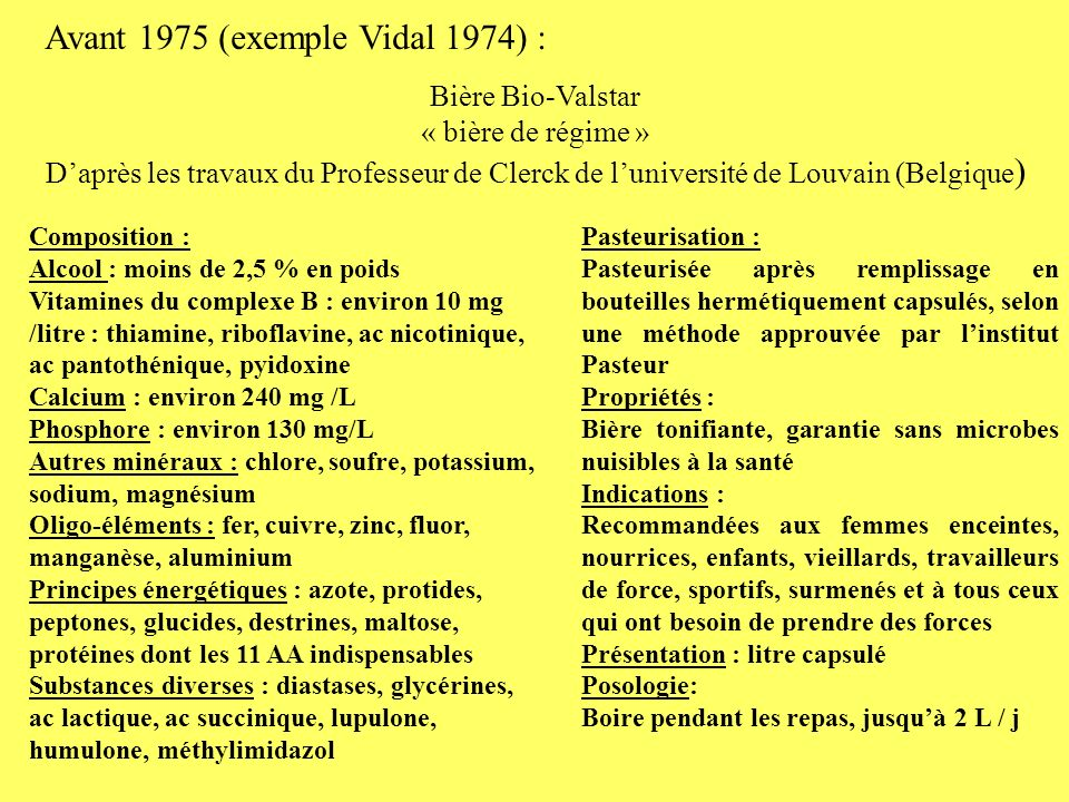 Avant 1975 (exemple Vidal 1974) :