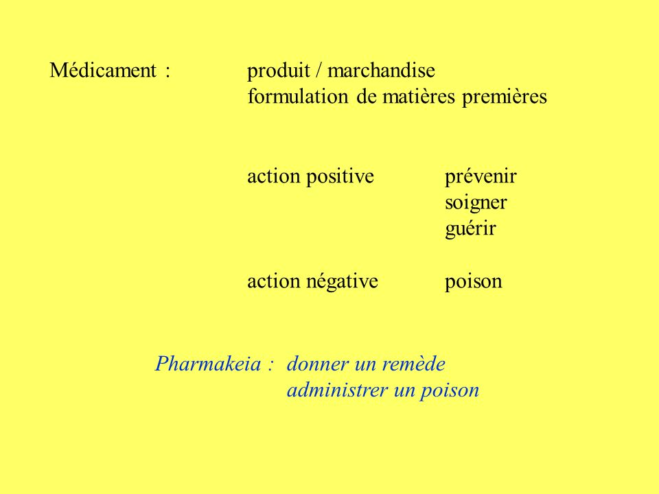 Médicament : produit / marchandise