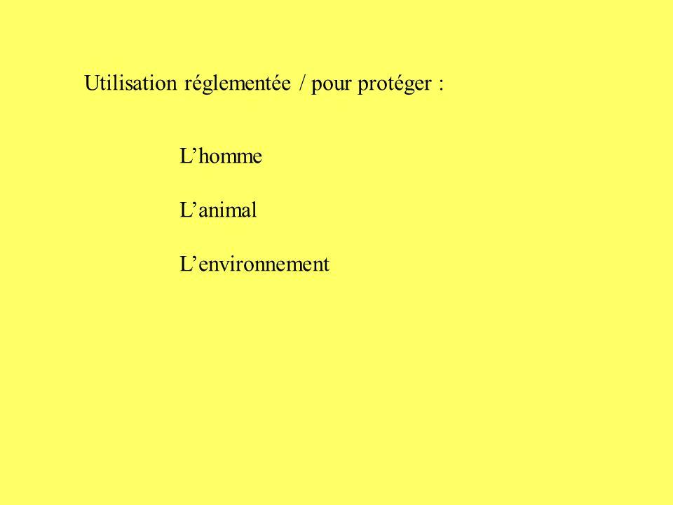 Utilisation réglementée / pour protéger :