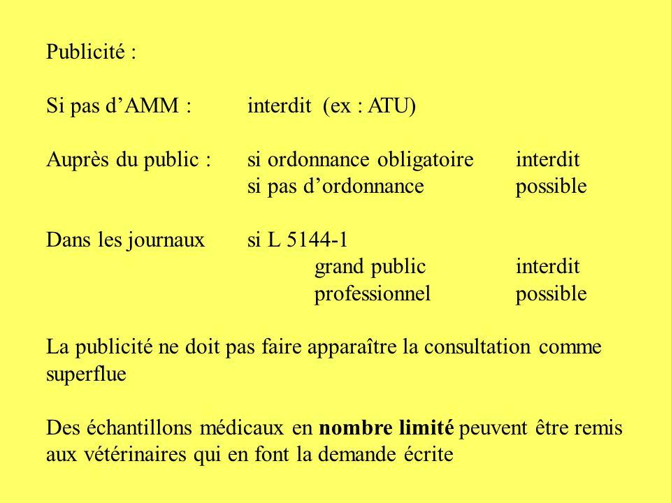 Publicité : Si pas d'AMM : interdit (ex : ATU) Auprès du public : si ordonnance obligatoire interdit.