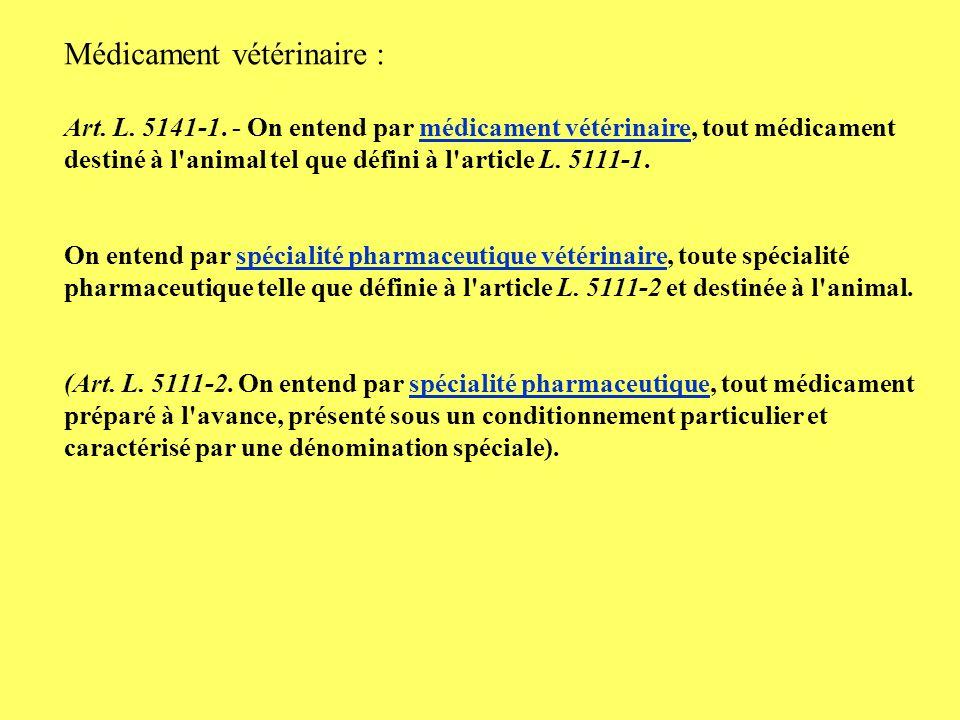 Médicament vétérinaire :
