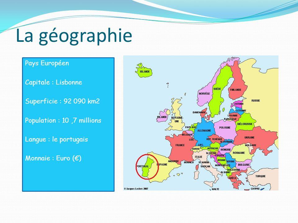 La géographie Pays Européen Capitale : Lisbonne Superficie : 92 090 km2 Population : 10 ,7 millions Langue : le portugais Monnaie : Euro (€)