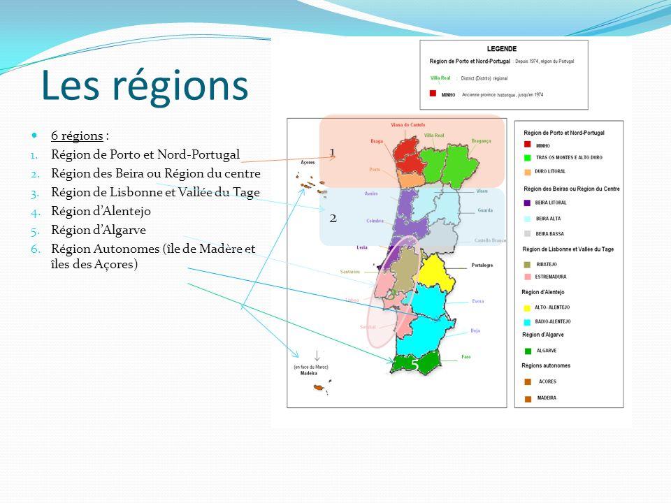 Les régions 1 2 3 4 5 6 régions : Région de Porto et Nord-Portugal