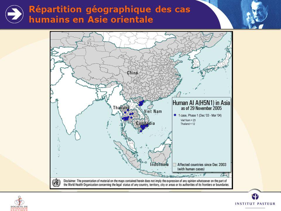 Répartition géographique des cas humains en Asie orientale