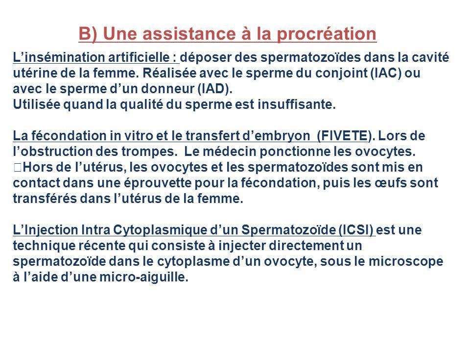 B) Une assistance à la procréation
