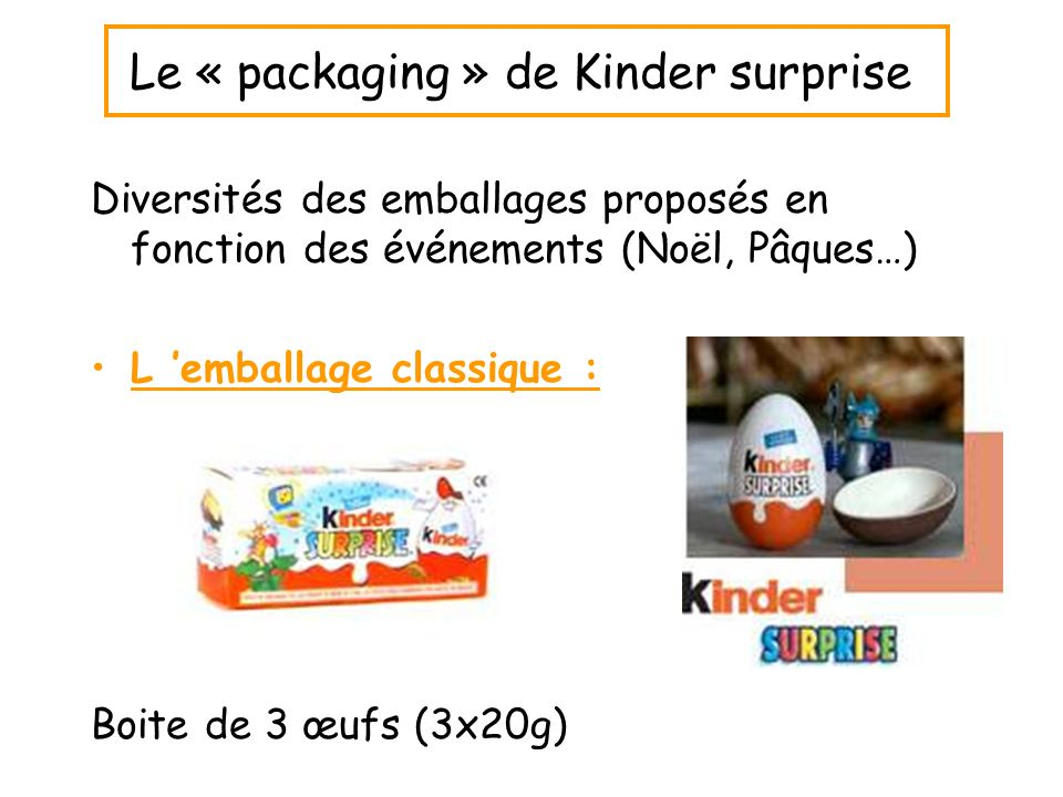 Le « packaging » de Kinder surprise