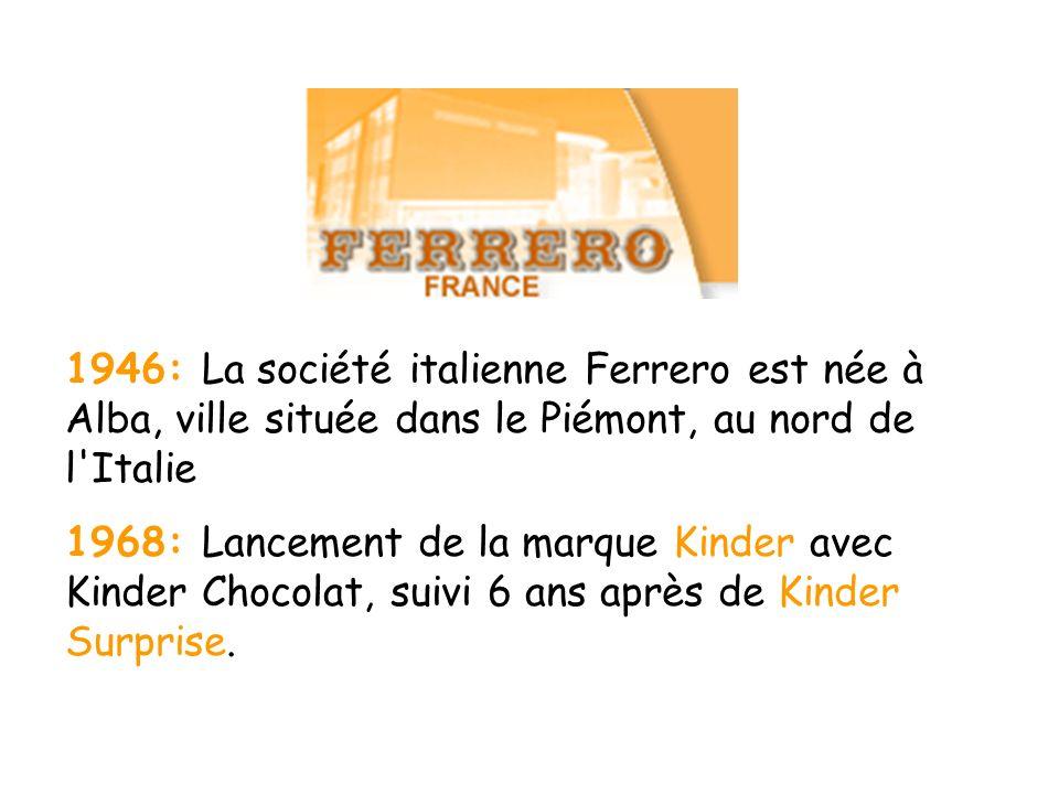1946: La société italienne Ferrero est née à Alba, ville située dans le Piémont, au nord de l Italie