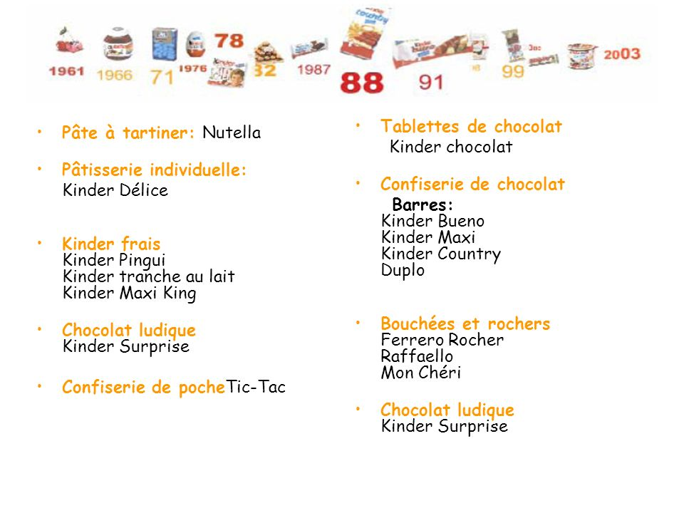 Tablettes de chocolat Kinder chocolat. Confiserie de chocolat. Barres: Kinder Bueno Kinder Maxi Kinder Country Duplo.