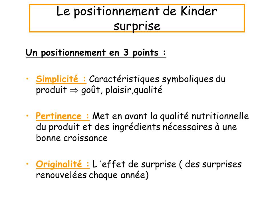 Le positionnement de Kinder surprise