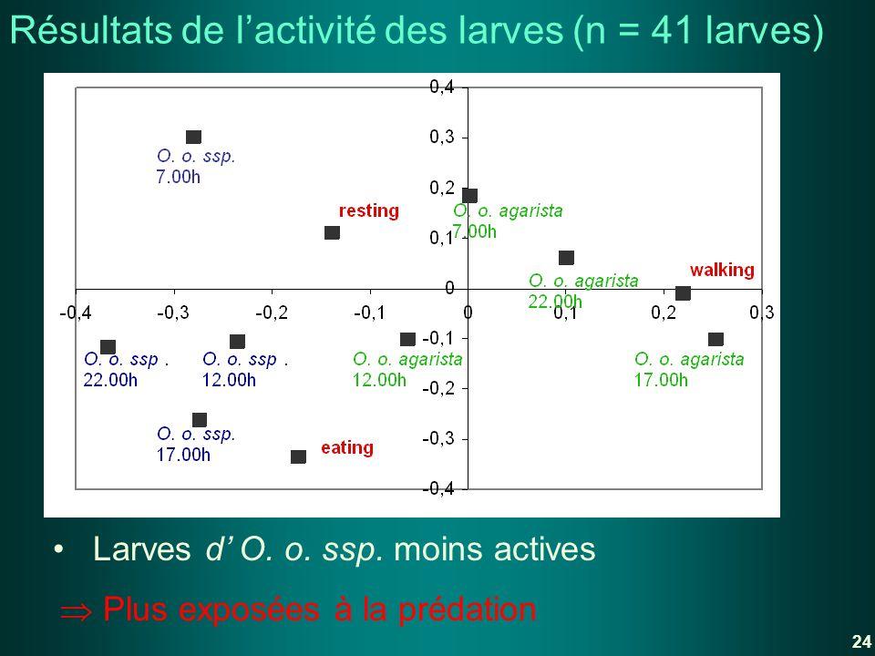 Résultats de l'activité des larves (n = 41 larves)