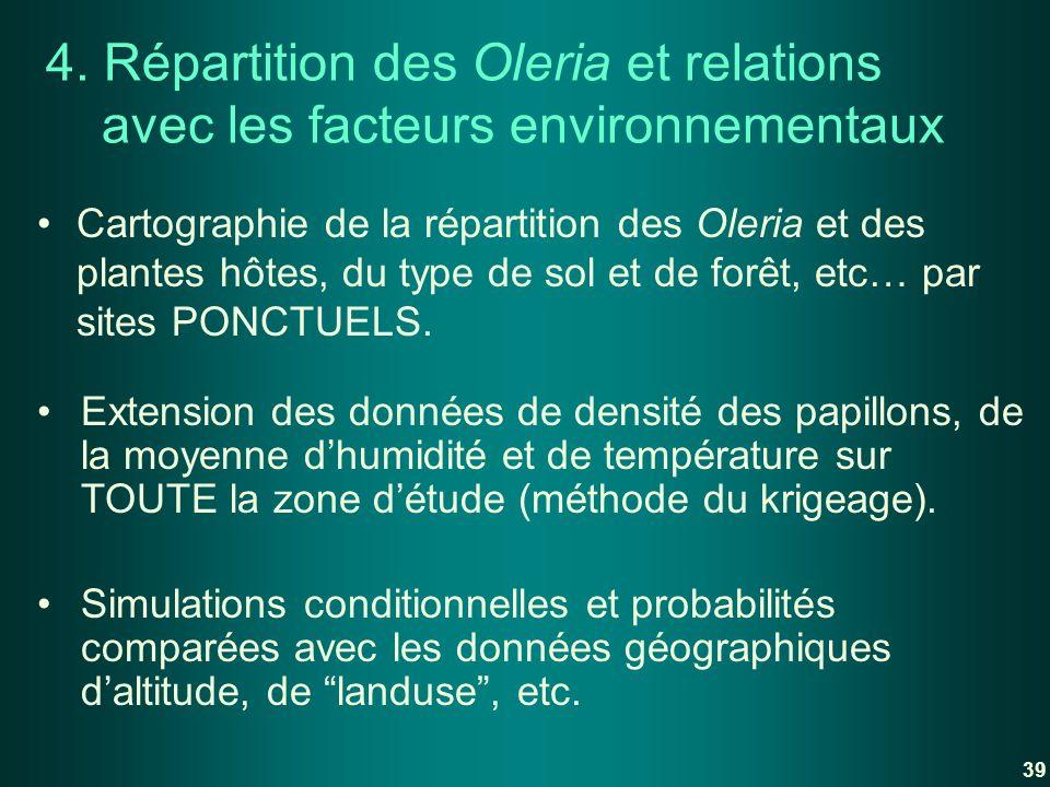 4. Répartition des Oleria et relations avec les facteurs environnementaux