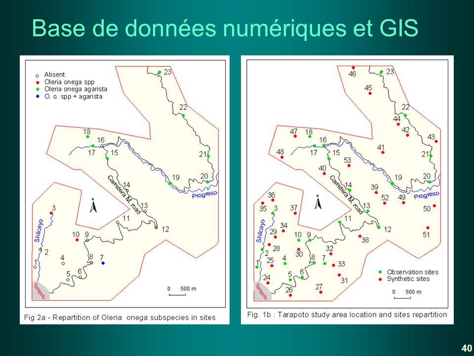 Base de données numériques et GIS