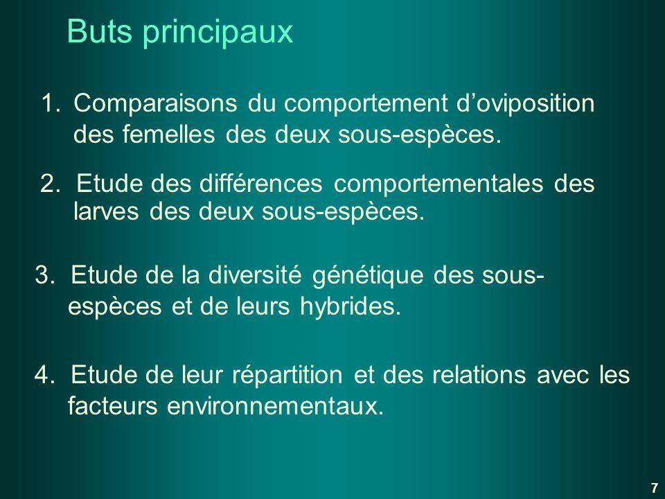 Buts principaux 1. Comparaisons du comportement d'oviposition des femelles des deux sous-espèces.