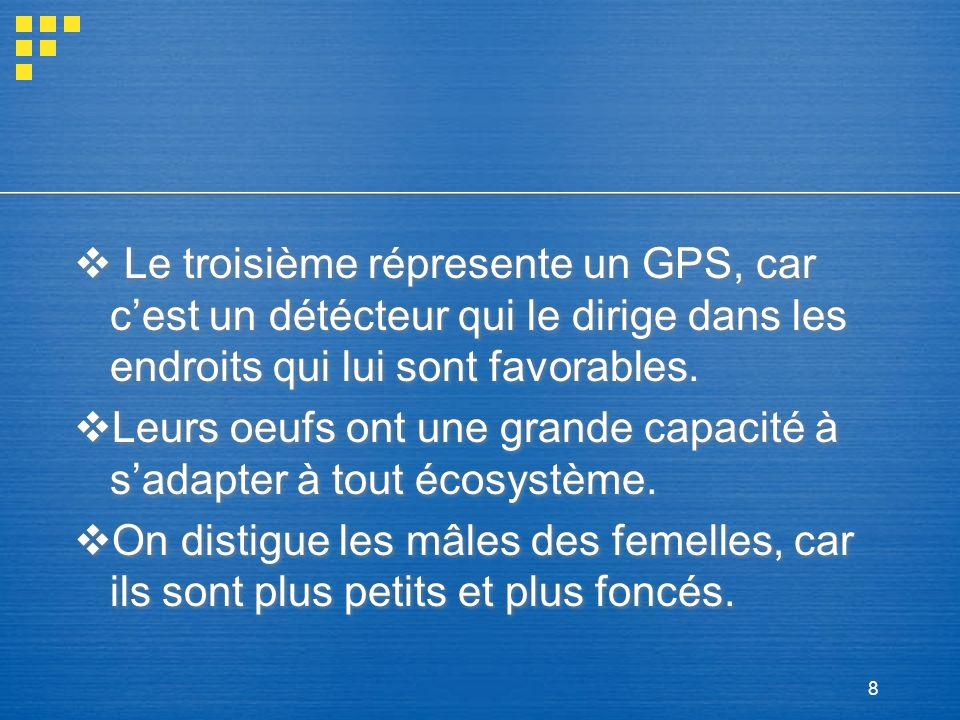 Le troisième répresente un GPS, car c'est un détécteur qui le dirige dans les endroits qui lui sont favorables.