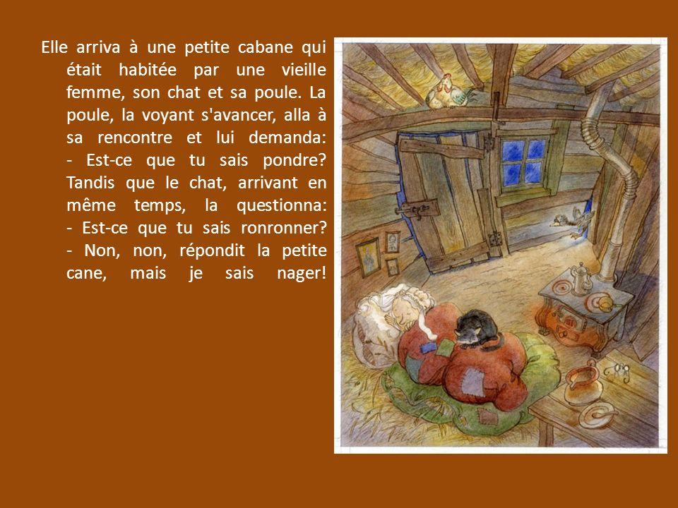 Elle arriva à une petite cabane qui était habitée par une vieille femme, son chat et sa poule.