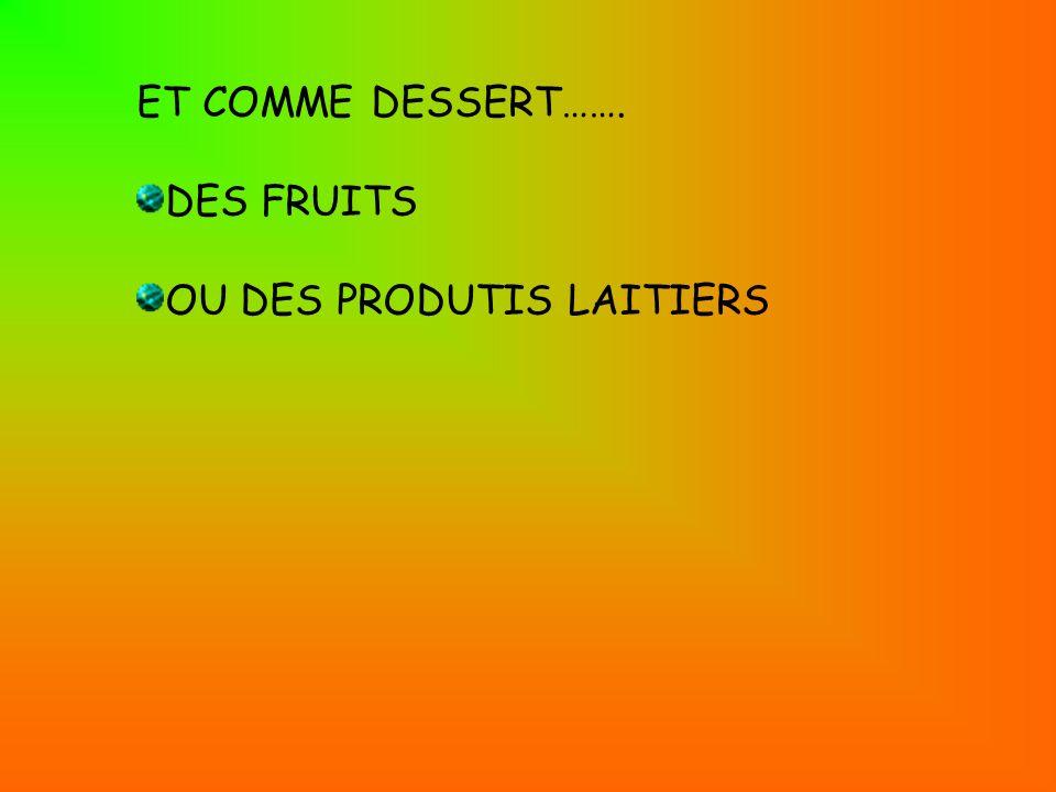 ET COMME DESSERT……. DES FRUITS OU DES PRODUTIS LAITIERS
