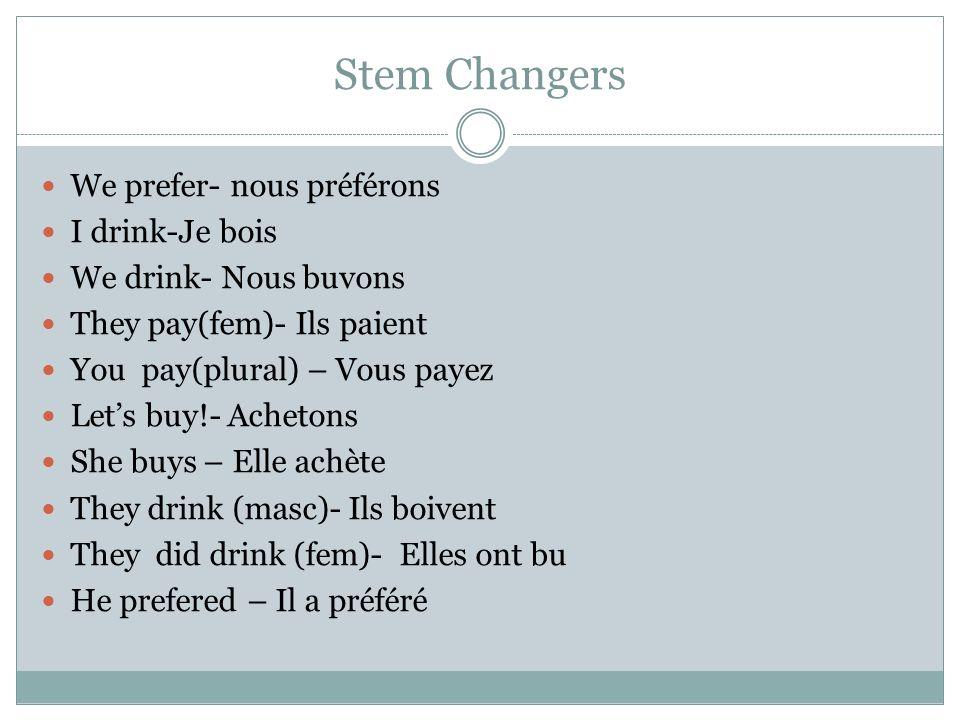 Stem Changers We prefer- nous préférons I drink-Je bois