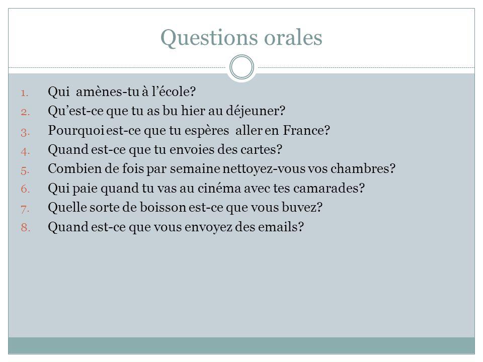 Questions orales Qui amènes-tu à l'école
