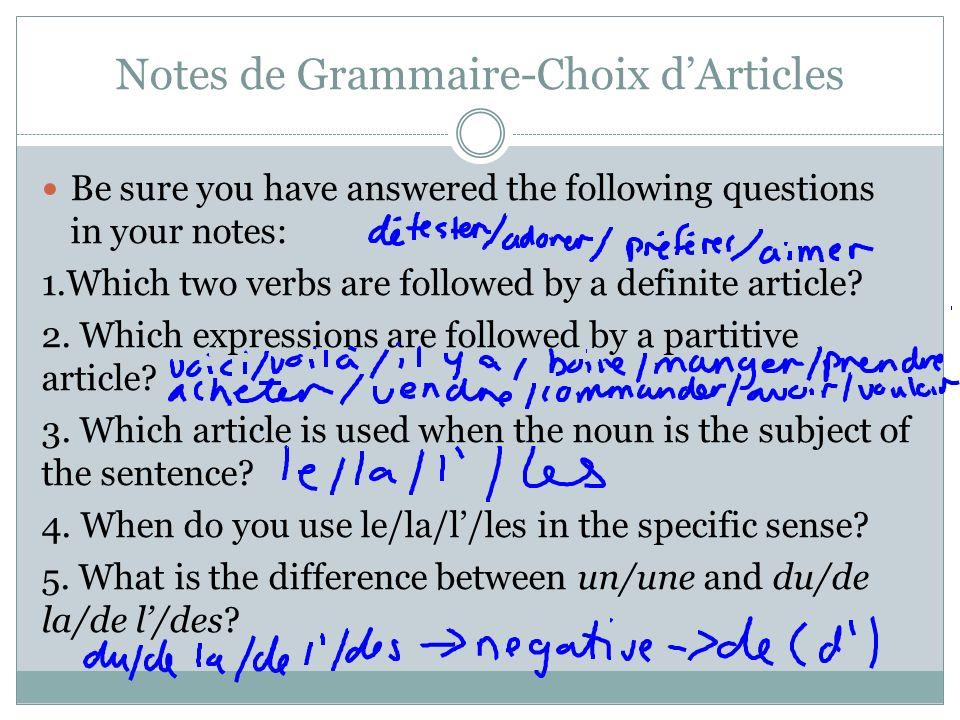 Notes de Grammaire-Choix d'Articles