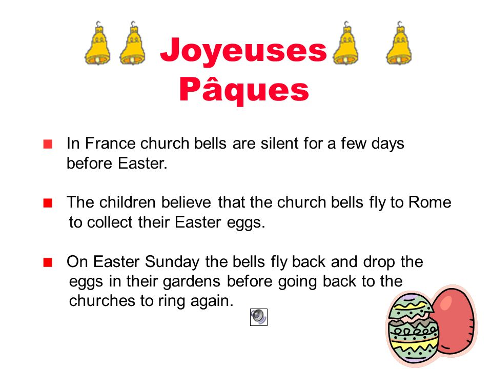 Joyeuses Pâques In France church bells are silent for a few days