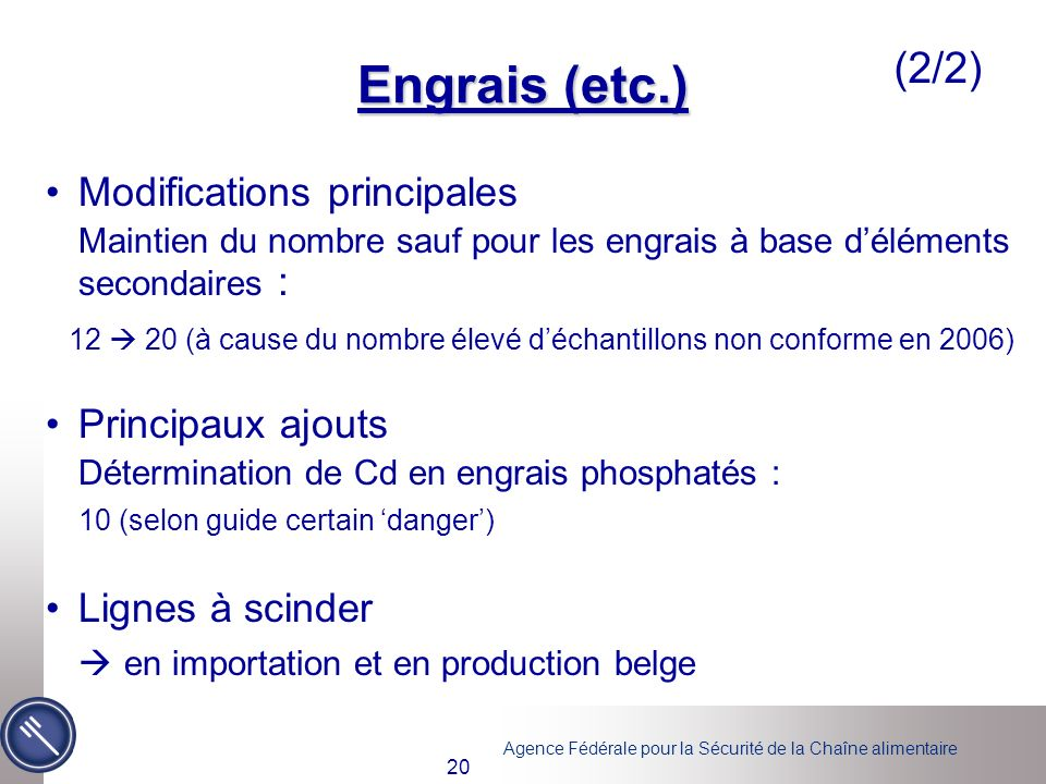 Engrais (etc.) (2/2) Modifications principales